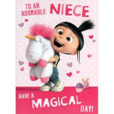 Adorable Niece Agnes & Fluffy Unicorn Minions Card