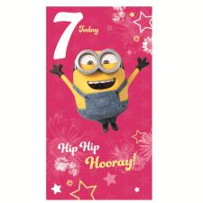 7 Today Pink Minions 7th Birthday Card
