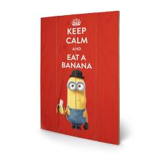 Keep Calm Red Minions Wooden Wall Art (40cm x 59cm)