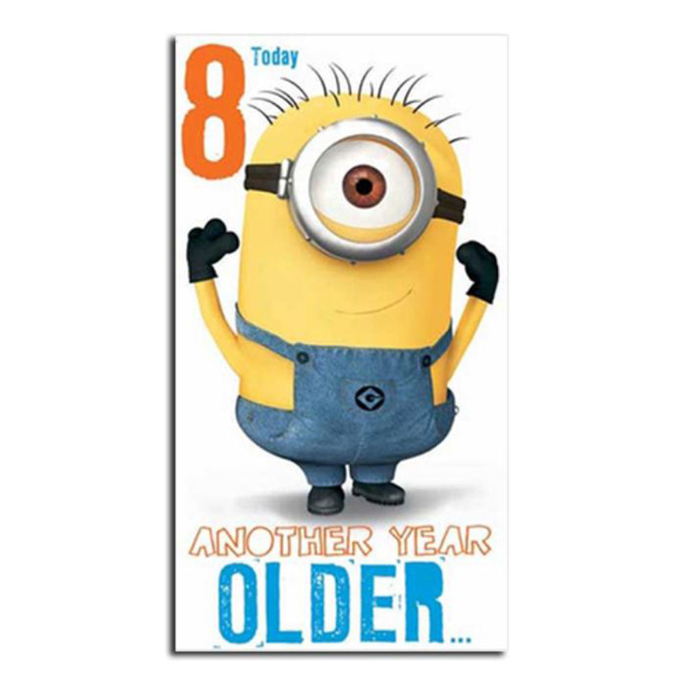 8 Today 8th Birthday Minions Card – Minion Happy Birthday Card