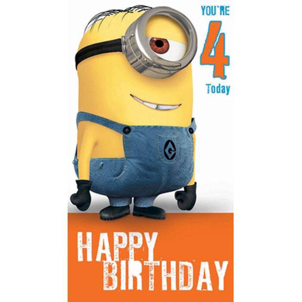 4 today 4th birthday minions card minion shop 4 today 4th birthday minions card bookmarktalkfo Gallery