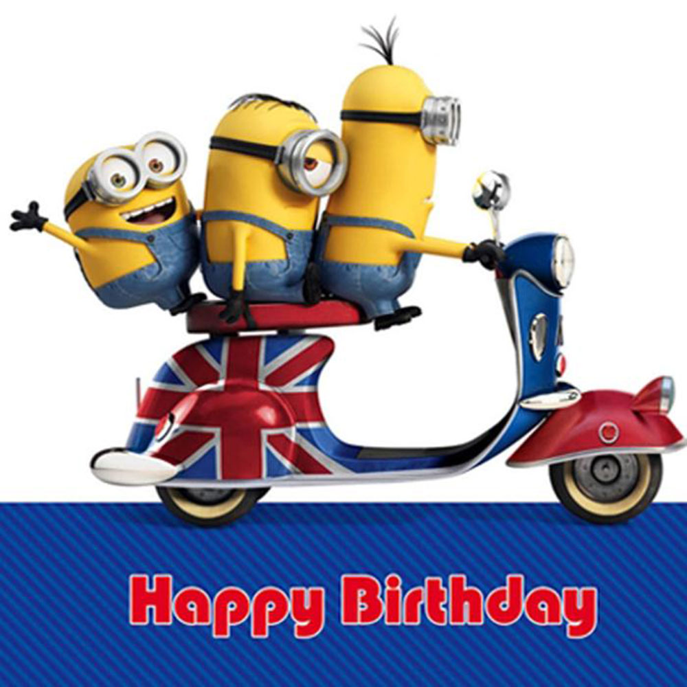 Minions On Scooter Birthday Card – Motorbike Birthday Cards