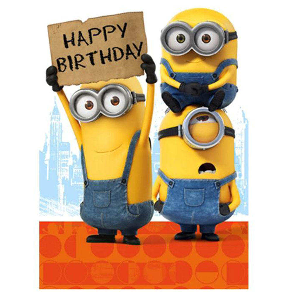 Happy Birthday Sign Minions Card