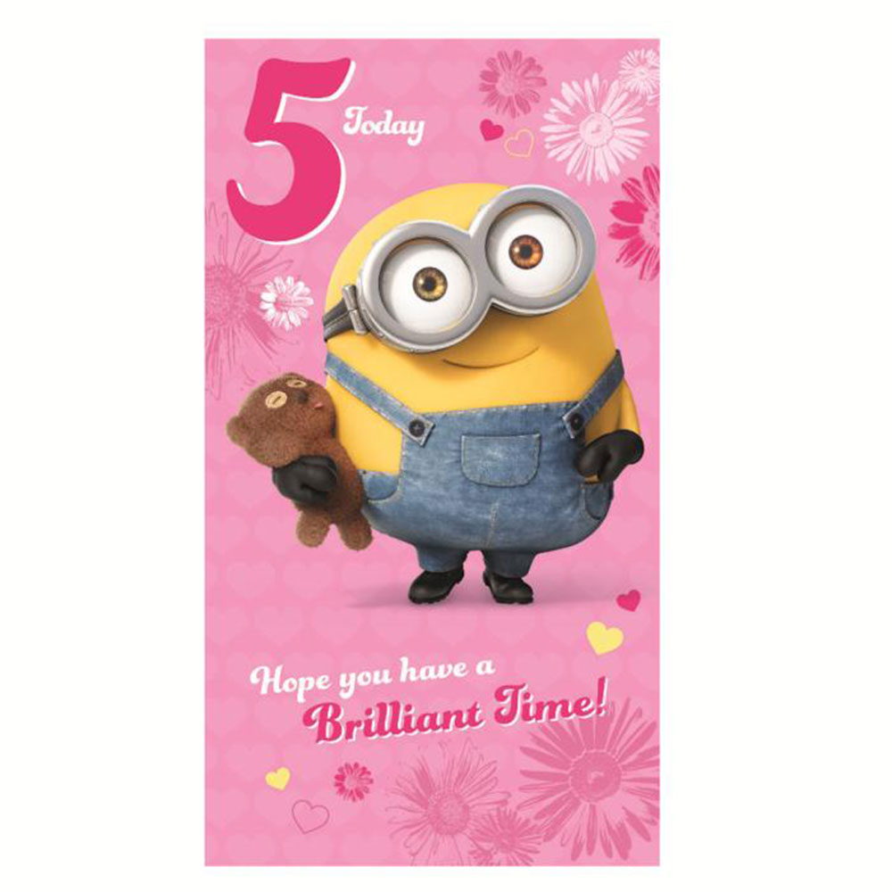5 Today Pink Minions 5th Birthday Card 210