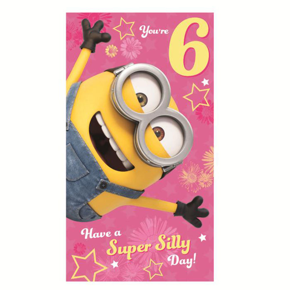 6 Today Pink Minions 6th Birthday Card 210