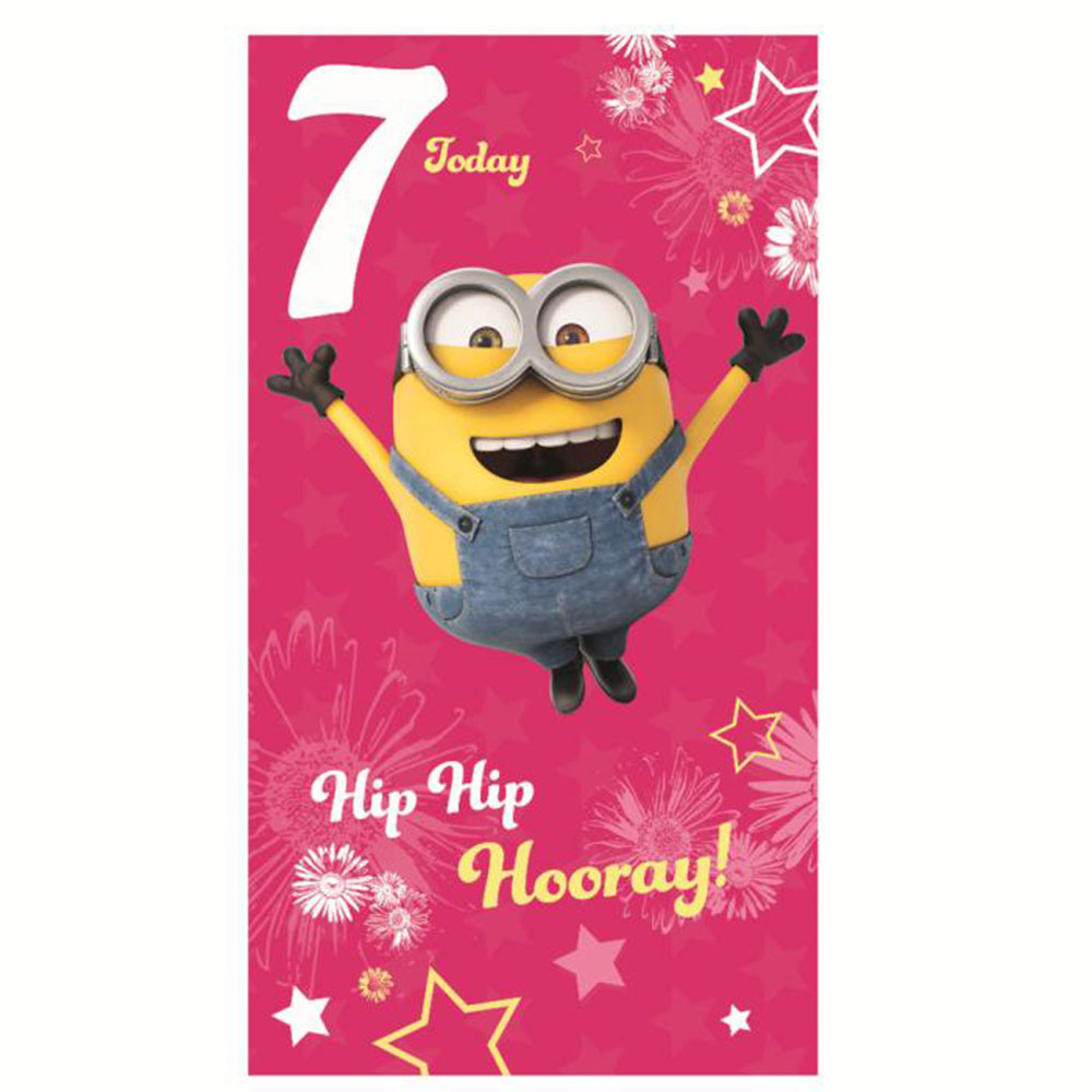 Minions birthday cards minion shop the entire minions collection 7 today pink minions 7th birthday card m4hsunfo
