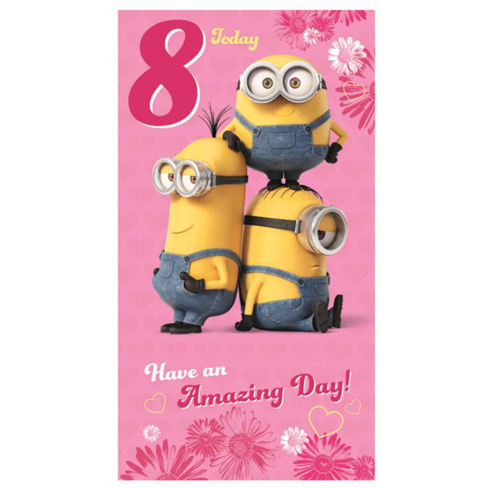 8 Today Pink Minions 8th Birthday Card 300