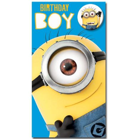 Birthday Boy Minions Card With Badge  £2.35