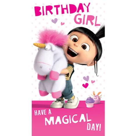 Birthday Girl Agnes & Fluffy Unicorn Minions Card  £2.10