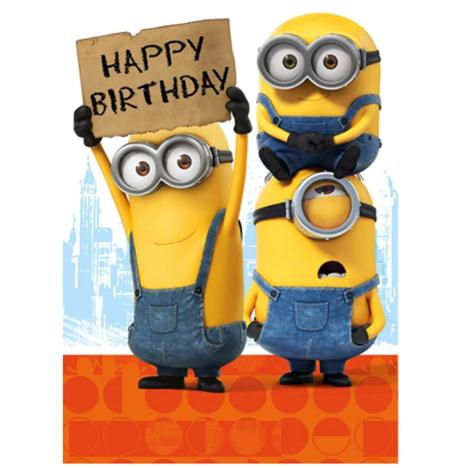Happy Birthday Sign Minions Card  £1.60